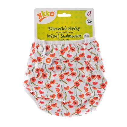 Infant swim nappy XKKO OneSize - Red Poppies