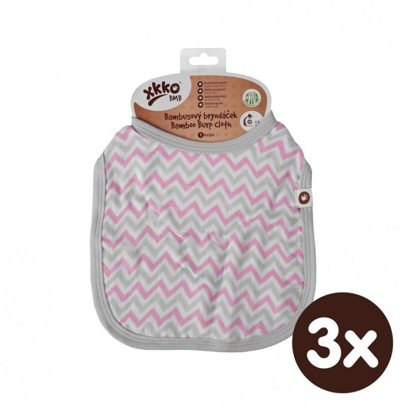 Bamboo Burp Cloth XKKO BMB - Baby Pink Chevron 3x1ps (Wholesale packaging)