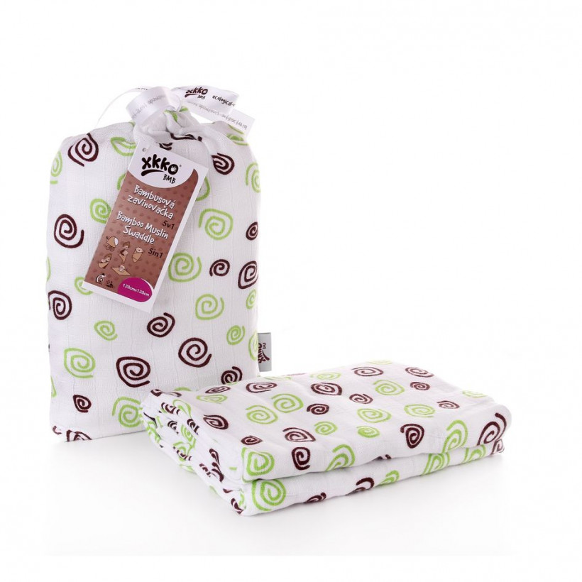 Bamboo swaddle XKKO BMB 120x120 - Lime Spirals 5x1ps (Wholesale packaging)
