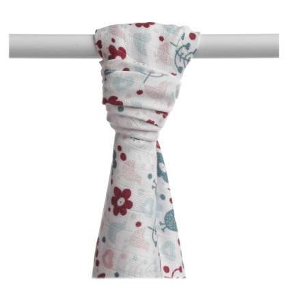 Bamboo muslin towel XKKO BMB 90x100 - Flowers&Birds Girls