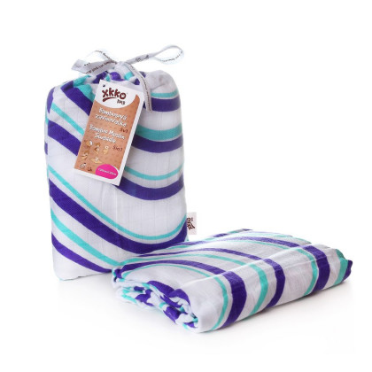 Bamboo swaddle XKKO BMB 120x120 - Ocean Blue Waves