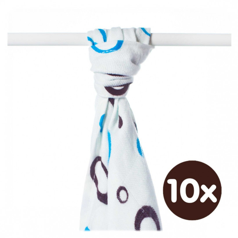 Bamboo muslin towel XKKO BMB 90x100 - Cyan Bubbles 10x1pcs (Wholesale packaging)