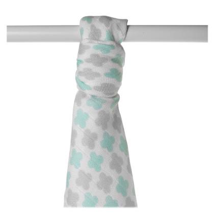 Bamboo muslin towel XKKO BMB 90x100 - Mint Cross
