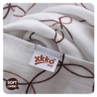 Bamboo muslin towel XKKO BMB 90x100 - Natural Brown Circles 10x1pcs (Wholesale packaging)