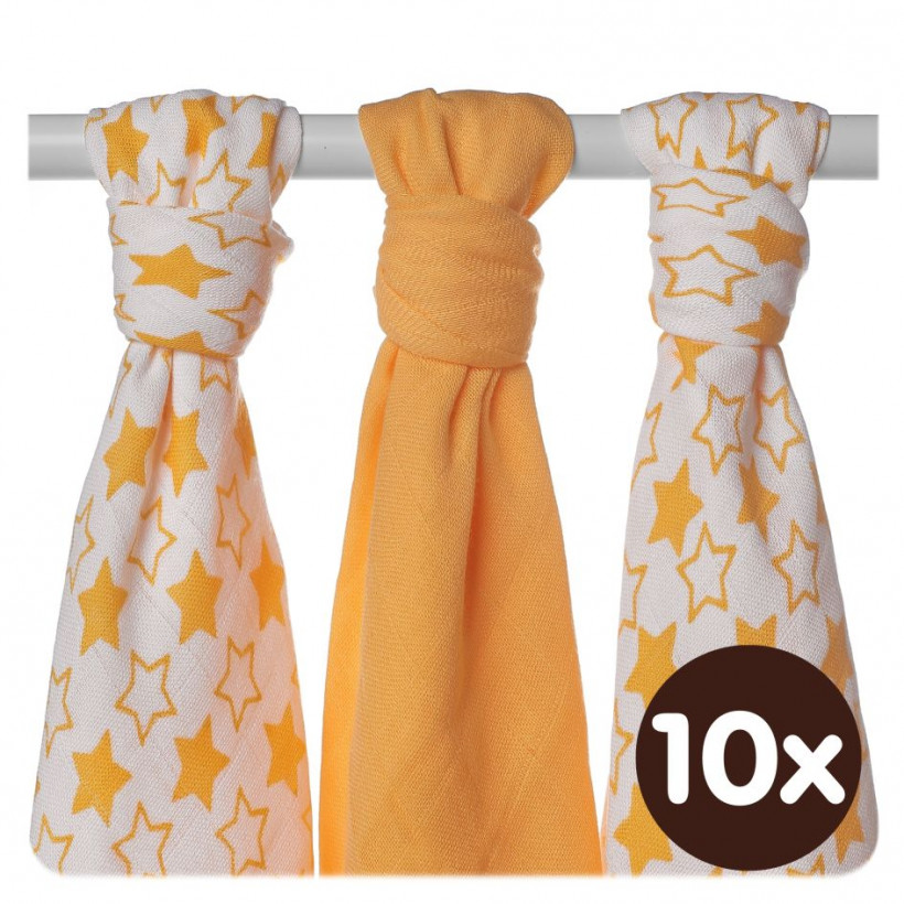 Bamboo muslins XKKO BMB 70x70 - Little Stars Orange MIX 10x3pcs (Wholesale packaging)