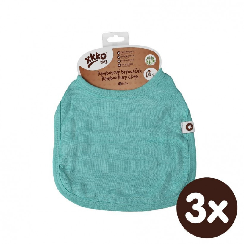 Bamboo Burp Cloth XKKO BMB - Turquoise 3x1ps (Wholesale packaging)