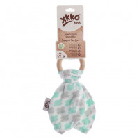 XKKO BMB Bamboo teether with Leaves - Mint Cross