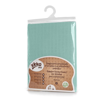 Bamboo muslin fitted sheet XKKO BMB 50x70 - Mint