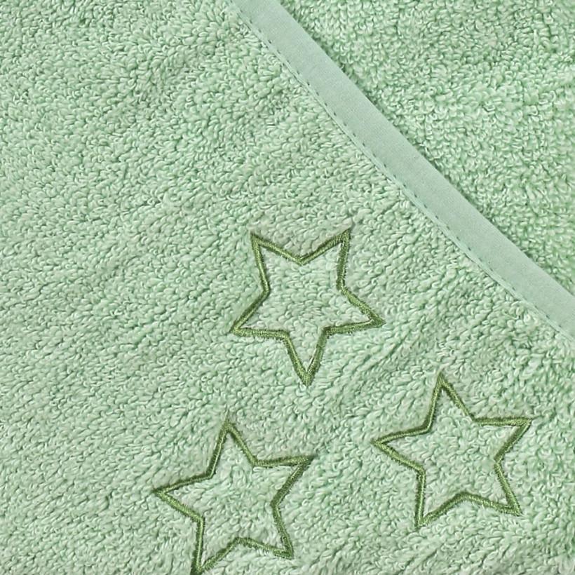 Hooded terry bath towel XKKO Organic 90x90 - Mint Stars