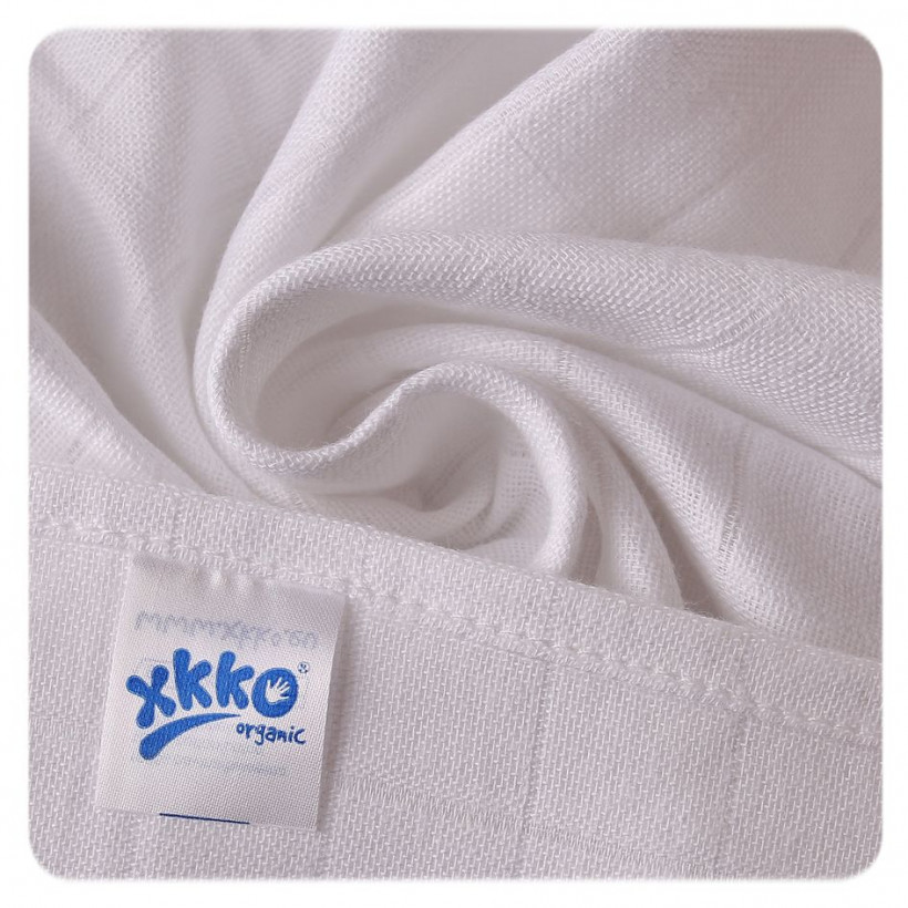 Organic Cotton Muslins XKKO Organic 70x70 Old Times - White 40x5ps (Wholesale pack.)