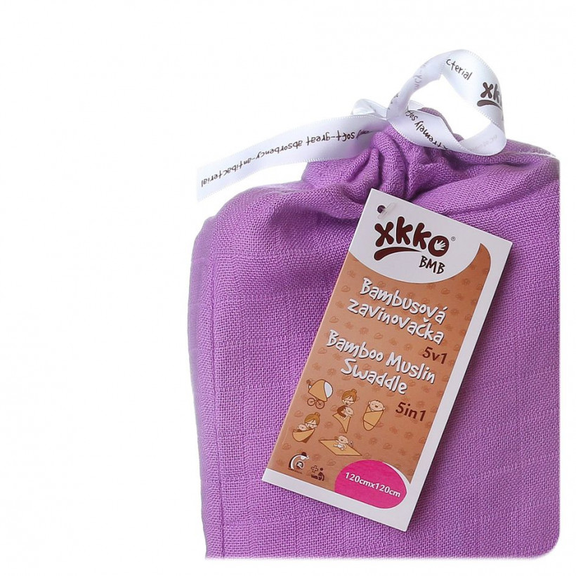 Bamboo swaddle XKKO BMB 120x120 - Lilac 5x1ps (Wholesale packaging)