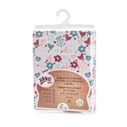 Bamboo muslin fitted bed sheet XKKO BMB 120x60 - Flowers&Birds For Girls