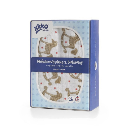 Organic Cotton Swaddle XKKO Organic 120x120 - Rocking Horses Gold