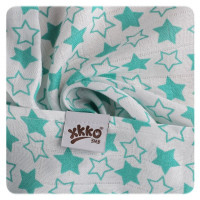 Bamboo muslin towel XKKO BMB 90x100 - LIttle Stars Turquoise 10x1pcs (Wholesale packaging)