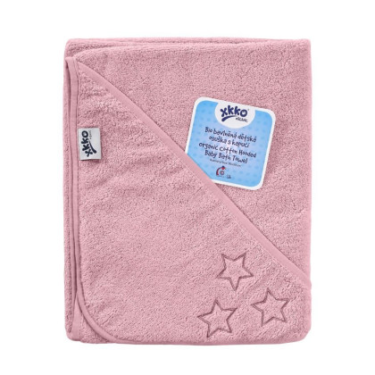 Hooded terry bath towel XKKO Organic 90x90 - Baby Pink Stars