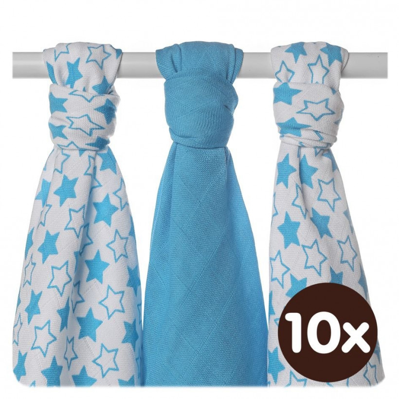 Bamboo muslins XKKO BMB 70x70 - Little Stars Cyan MIX 10x3pcs (Wholesale packaging)