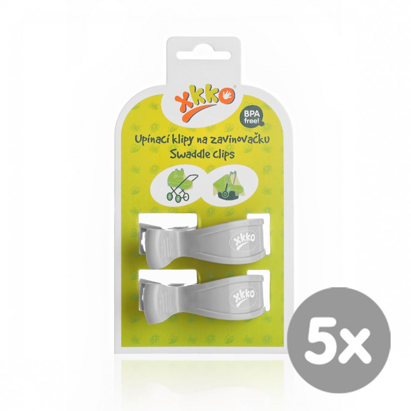 Pram Clips XKKO - Grey 5x2ps (Wholesale pack.)