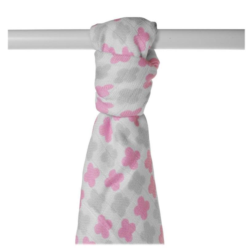 Bamboo muslin towel XKKO BMB 90x100 - Baby Pink Cross 10x1pcs (Wholesale packaging)