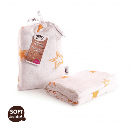 Bamboo swaddle XKKO BMB 120x120 - Orange Stars