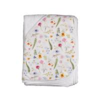 Hooded bamboo terry towel XKKO BMB 90x90 - Summer Meadow
