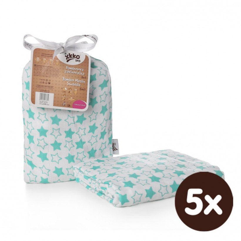 Bamboo swaddle XKKO BMB 120x120 - Little Stars Turquoise 5x1ps (Wholesale packaging)