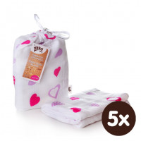 Bamboo swaddle XKKO BMB 120x120 - Lilac Hearts 5x1ps (Wholesale packaging)