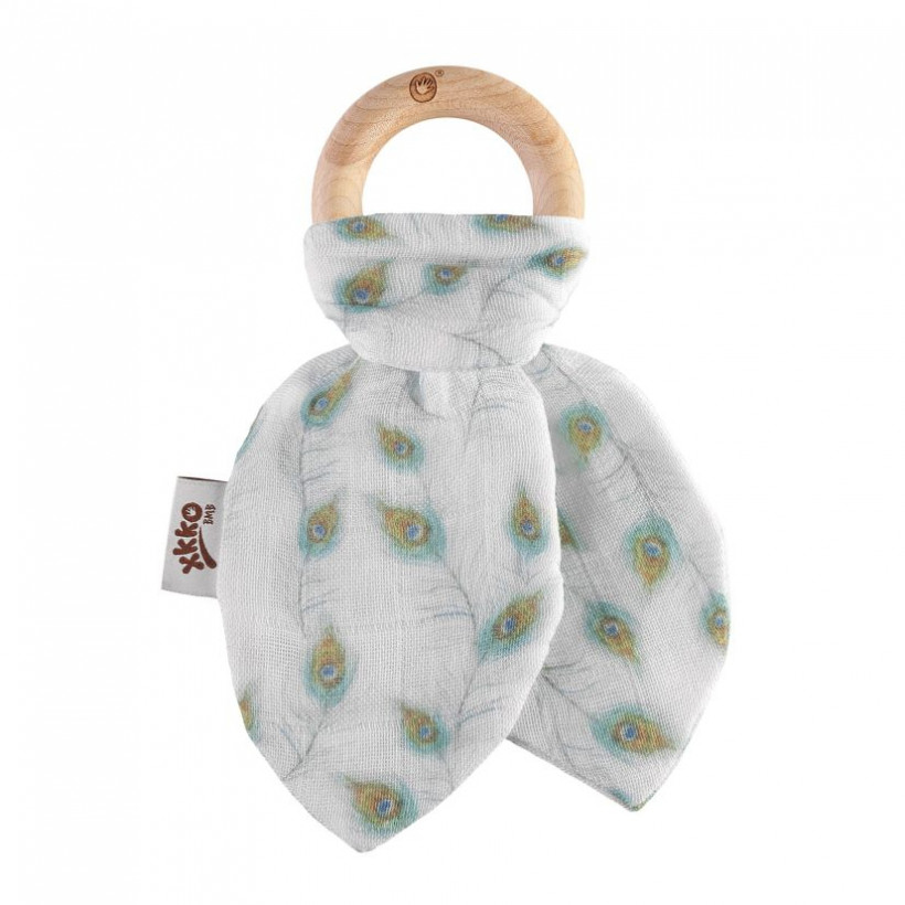 XKKO BMB Bamboo teether with Leaves Digi - Peacock Feathers