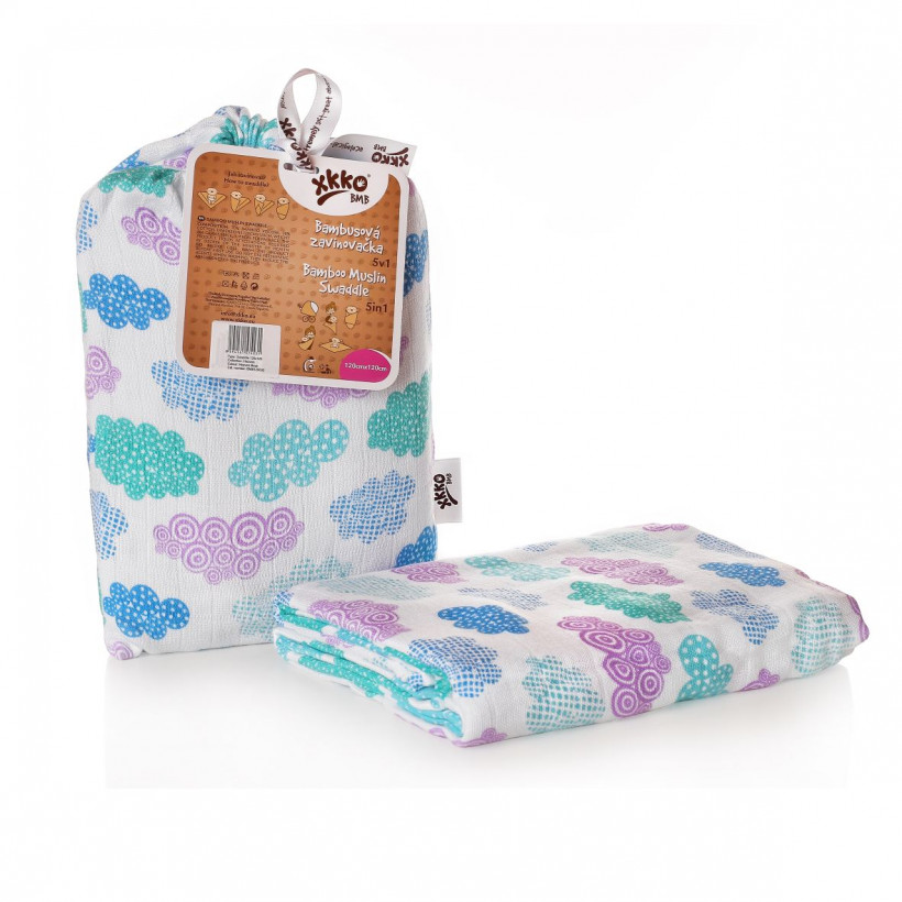 Bamboo swaddle XKKO BMB 120x120 - Heaven for Boys