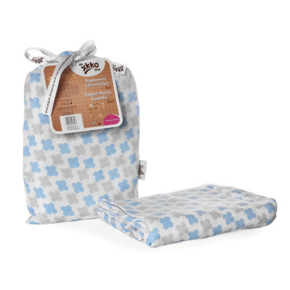 Bamboo swaddle XKKO BMB 120x120 - Baby Blue Cross