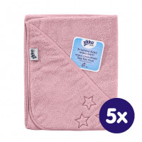 Hooded terry bath towel XKKO Organic 90x90 - Baby Pink Stars 5x1ps (Wholesale pack.)