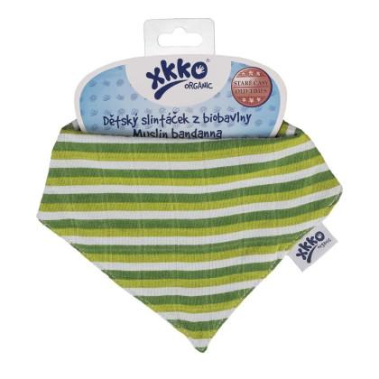 Organic Cotton Muslin Bandana XKKO Organic - Green Stripes