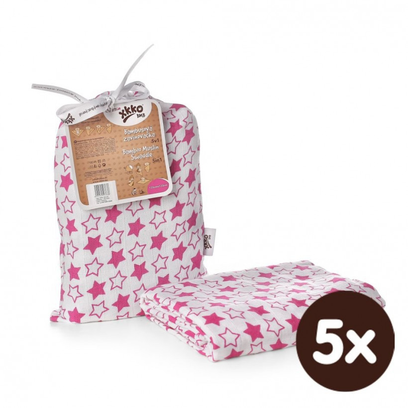 Bamboo swaddle XKKO BMB 120x120 - Little Stars Magenta 5x1ps (Wholesale packaging)