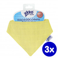 Organic Cotton Muslin Bandana XKKO Organic - Yellow 3x1ps (Wholesale pack.)