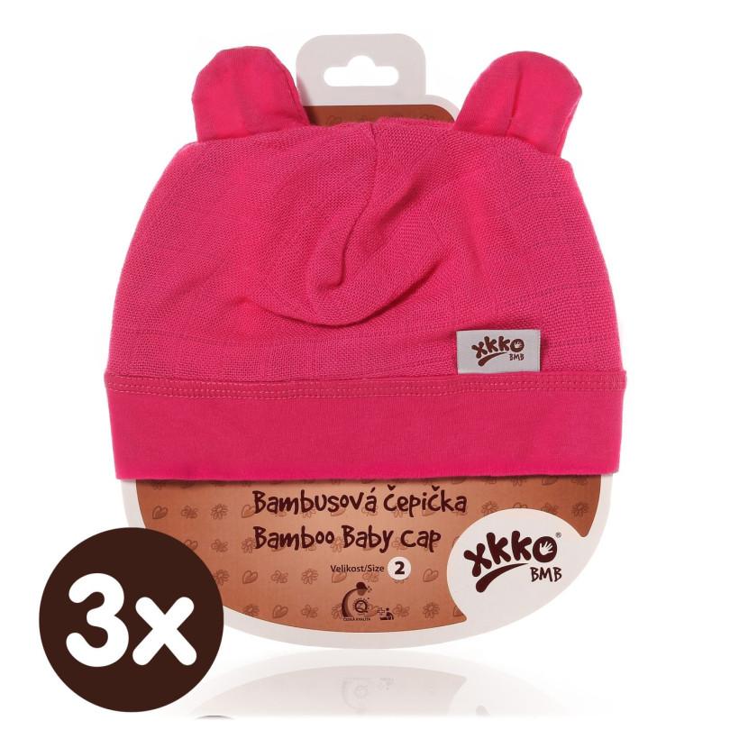 Bamboo Baby Hat XKKO BMB - Magenta 3x1ps (Wholesale packaging)
