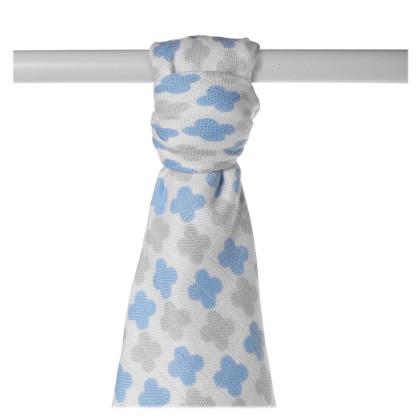 Bamboo muslin towel XKKO BMB 90x100 - Baby Blue Cross