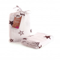 Bamboo swaddle XKKO BMB 120x120 - Natural Brown Stars 5x1ps (Wholesale packaging)