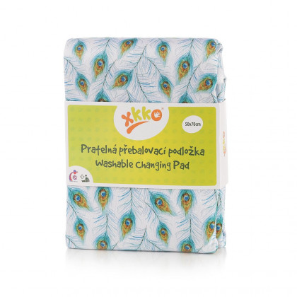 Washable Changing Pad XKKO 50x70 - Peacock Feathers