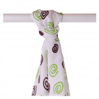 Bamboo muslin towel XKKO BMB 90x100 - Lime Spirals