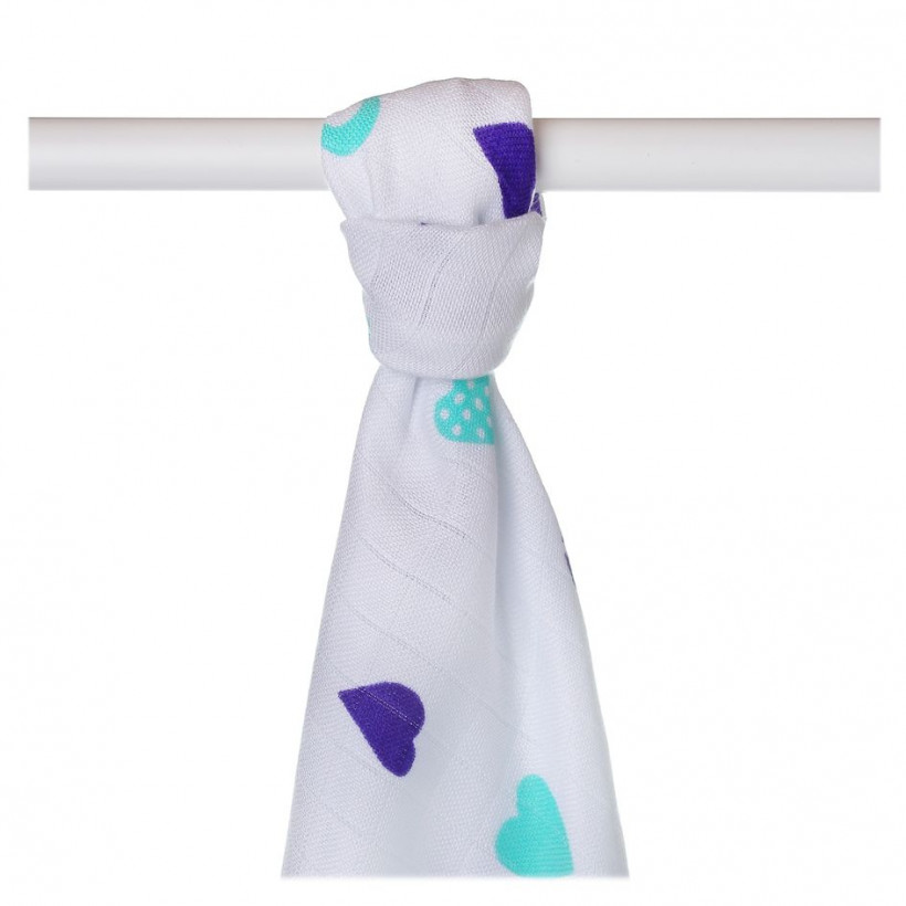Bamboo muslin towel XKKO BMB 90x100 - Ocean Blue Hearts
