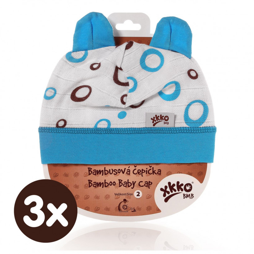 Bamboo Baby Hat XKKO BMB - Cyan Bubbles 3x1ps (Wholesale packaging)