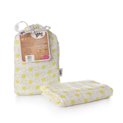 Bamboo swaddle XKKO BMB 120x120 - Little Stars Lemon