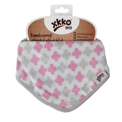 Bamboo bandana XKKO BMB - Baby Pink Cross