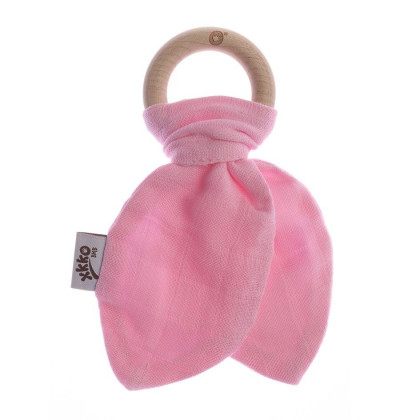 XKKO BMB Bamboo teether with Leaves - Baby Pink