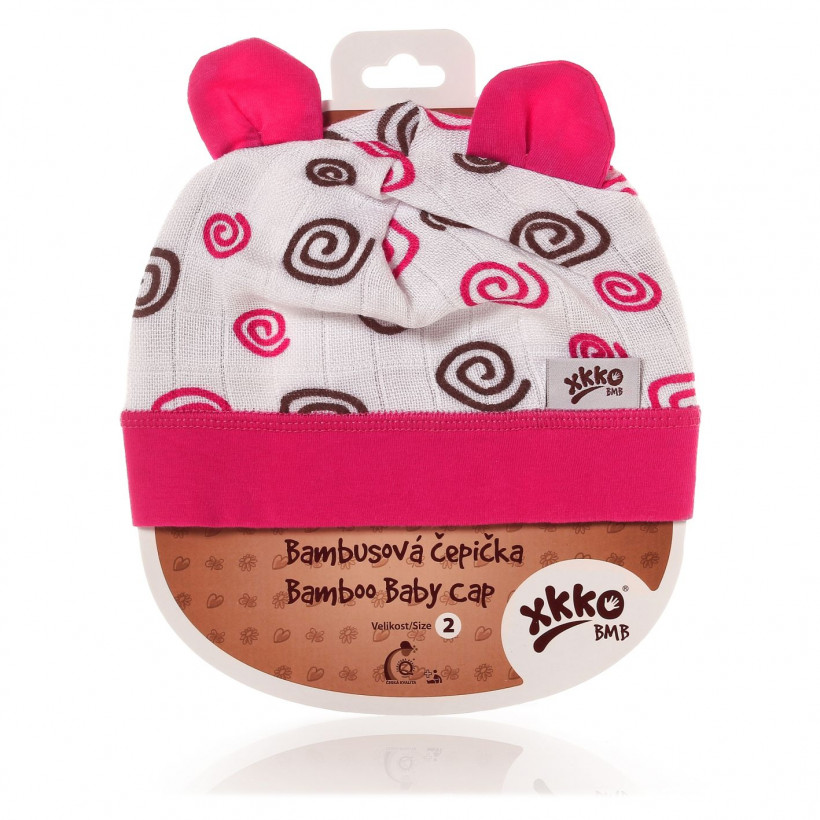 Bamboo Baby Hat XKKO BMB - Magenta Spirals 3x1ps (Wholesale packaging)