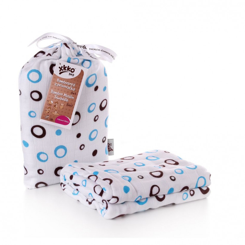 Bamboo swaddle XKKO BMB 120x120 - Cyan Bubbles 5x1ps (Wholesale packaging)