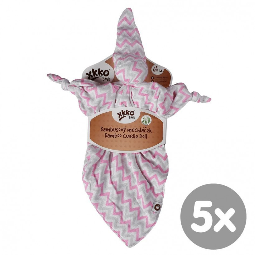 Bamboo cuddly toy XKKO BMB - Baby Pink Chevron 5x1ps (Wholesale packaging)