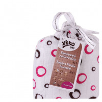 Bamboo swaddle XKKO BMB 120x120 - Magenta Bubbles 5x1ps (Wholesale packaging)