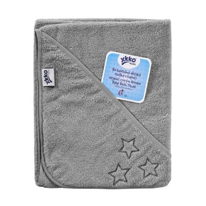 Hooded terry bath towel XKKO Organic 90x90 - Silver Stars