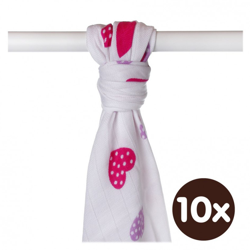 Bamboo muslin towel XKKO BMB 90x100 - Lilac Hearts 10x1pcs (Wholesale packaging)