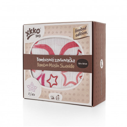 Bamboo swaddle XKKO BMB 120x120 - LE Big Red Star